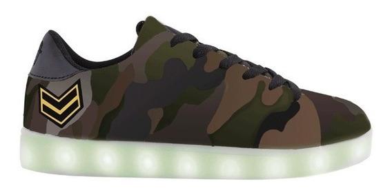Zapatillas Footy Led Camuflada Verde 29-34 -tienda Footy