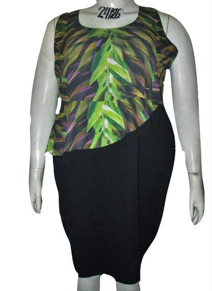 Vestido Negro Con Verde Jaspeado Talla 44/46w Lane Bryant