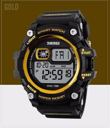 Relógio Masculino Skmei Digital Dourado Cronômetro + Brinde
