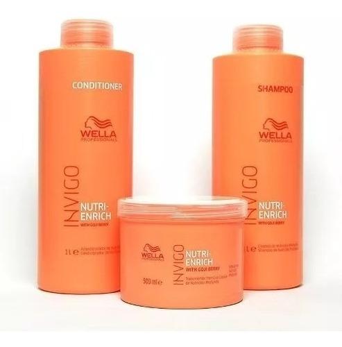 Kit Wella Invigo Enrich Sh + Cond 1000 Ml + Mascara 500 Ml