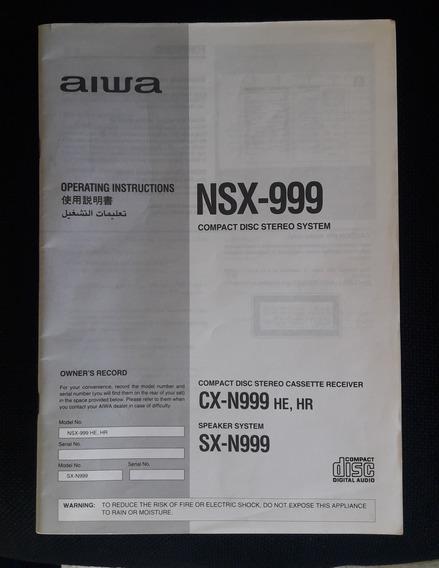Manual De Instruções Mini System Aiwa Nsx-999