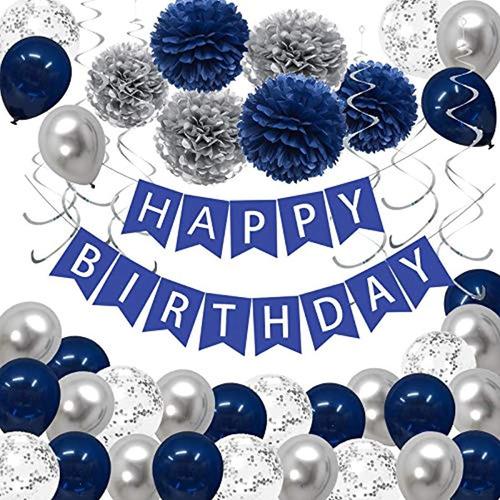 Paquete De 43 Decoraciones De Fiesta De Cumpleaños En Azul