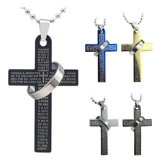 Colar Pingente Cruz Da Fé Oração Escrita Pai Nosso Anel