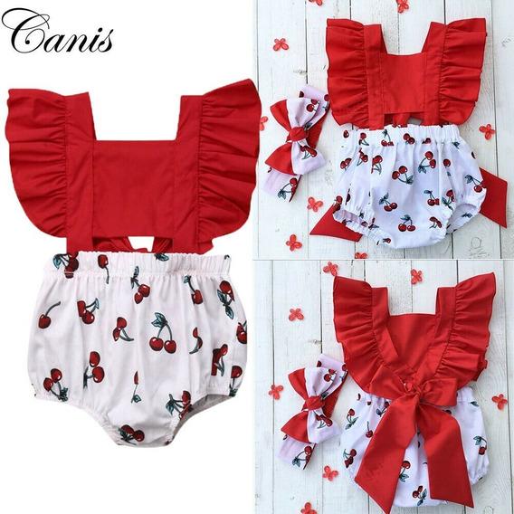 Vestido Romper Jumpsuit Cerezas + Bandita Para Bebe Niña 2pz
