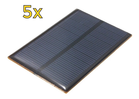 5x Painel Energia Solar Fotovoltaica 5v 1.25w 250ma 69x110