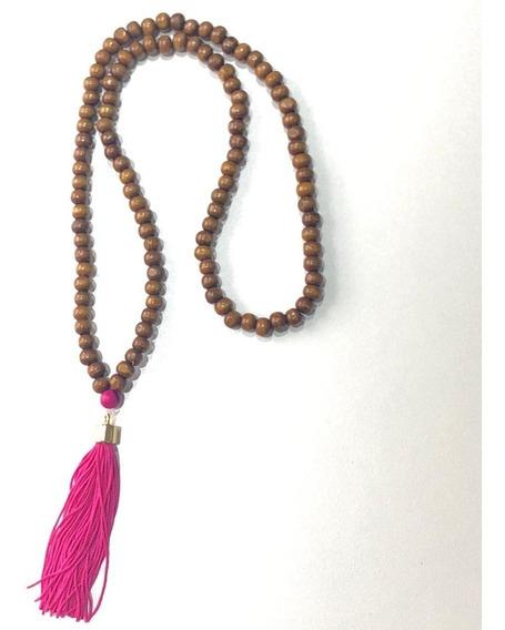 Japamala Em 108 Contas De Madeira Hooponopono Budista Rosa