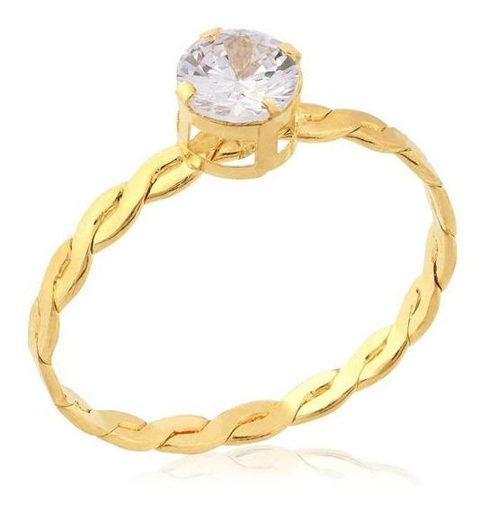 Anel De Ouro Com Zicônia Branca Ref: An0333br