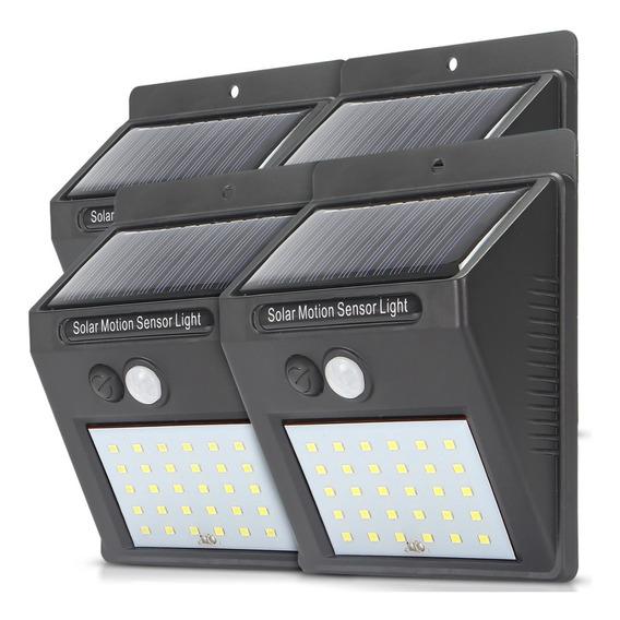 Kit 4 Luminária Solar Parede Sensor Presença 30 Leds Potente