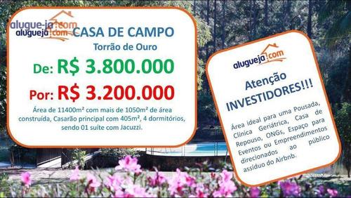 Imagem 1 de 30 de Chácara Com 4 Dormitórios À Venda, 11400 M² Por R$ 3.200.000,00 - Torrão De Ouro Ii - São José Dos Campos/sp - Ch0193