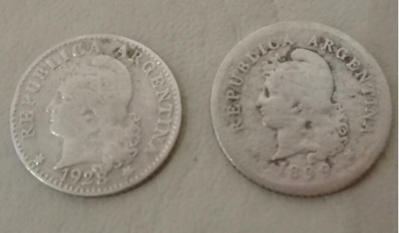 Lote 2 Niqueles Argentina 10 Centavos 1899 Y 5 Cent 1928