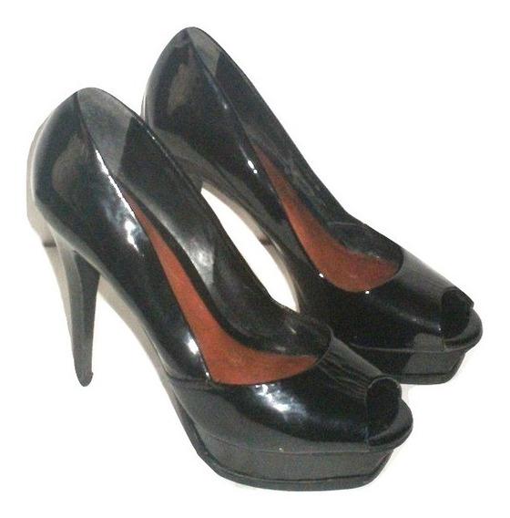 Zapato Aldo Charol Zapatilla Piel Altas Usad Tacon #26 $490a