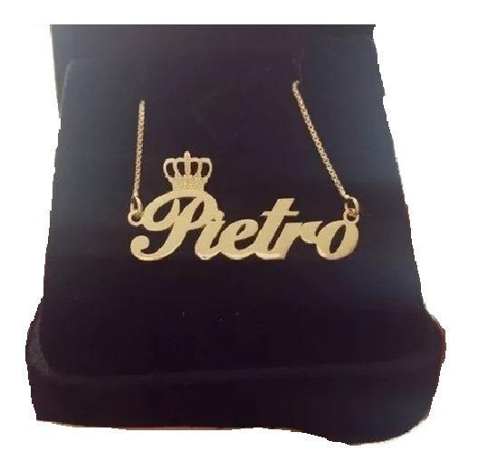 Gargantilha Manuscrito Coroa Prata Com Banho De Ouro Colar