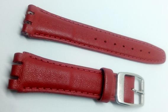 Pulseira Swatch Couro Liso 19mm Vermelha Irony Clássico