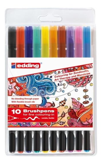 Marcadores Edding E 1340 Brush Pen 10 Colores Surtidos