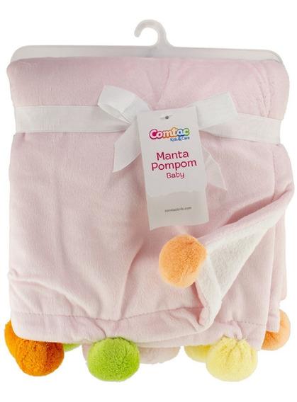 Manta Pompom Baby Rosa E Branco - Comtac Kids