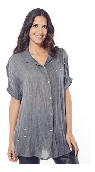 Camisa Rayon Twill Lisa Manga Corta C/perlitas