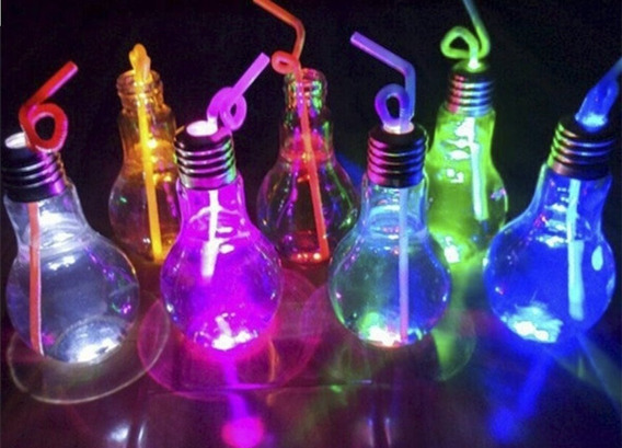 6 Vasos Lampadrink Led + 6 Sorbetes Luminosos. Cotillon