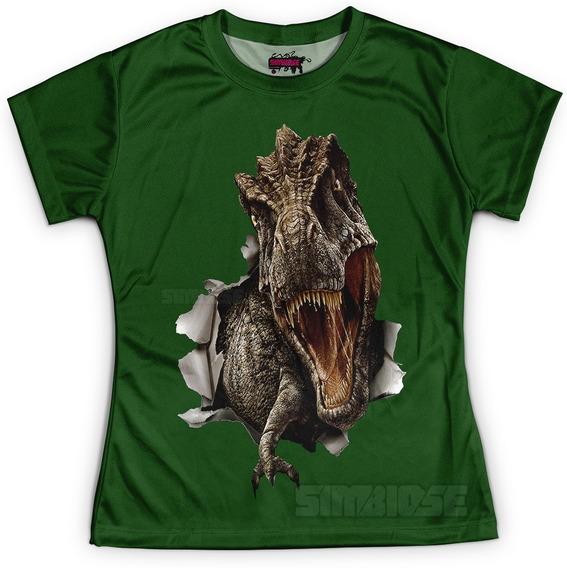 Camiseta Baby Look Feminina T-rex Dinossauro
