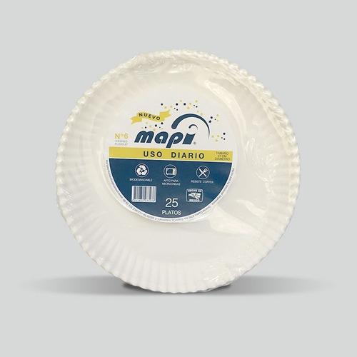 Plato De Carton Redondo N°6 Mapi® Biodegradable Pl-eco-27
