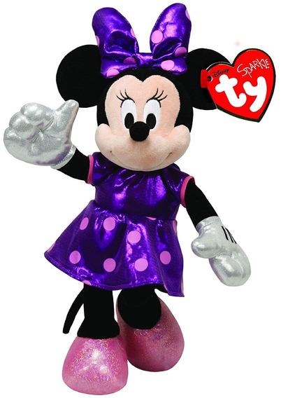 Beanie Babies Minnie Disney Vestido Roxo Ty Pelúcia