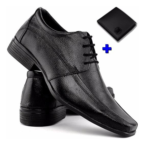 Sapato Preto Masculino Couro Legitimo Carteira Frete Gratis
