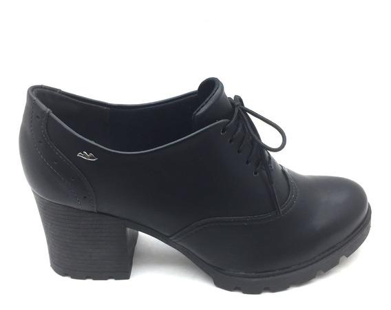 Sapato Oxford Dakota Salto Blocado Cadarço Preto Bordo