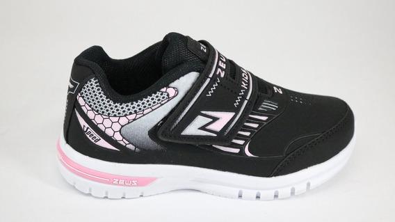 Tênis Zeus Tiras Aderentes Preto/rosa/branco