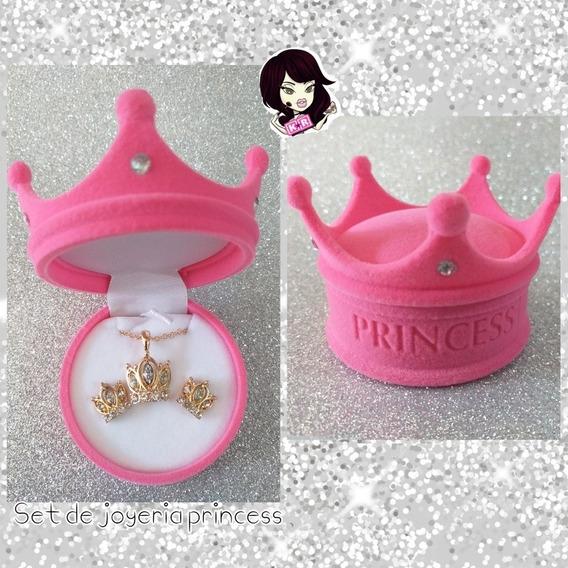Estuche Joyero Corona / Princess Collar Y Aretes Bisuteria