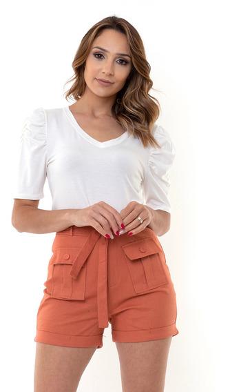 Shorts Kinara Sarja Cintura Alta Com Faixa Rosa