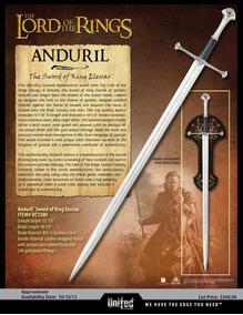 Espada Lord Of Rings Lotr Uc1380 United Cutlery Leia Anuncio