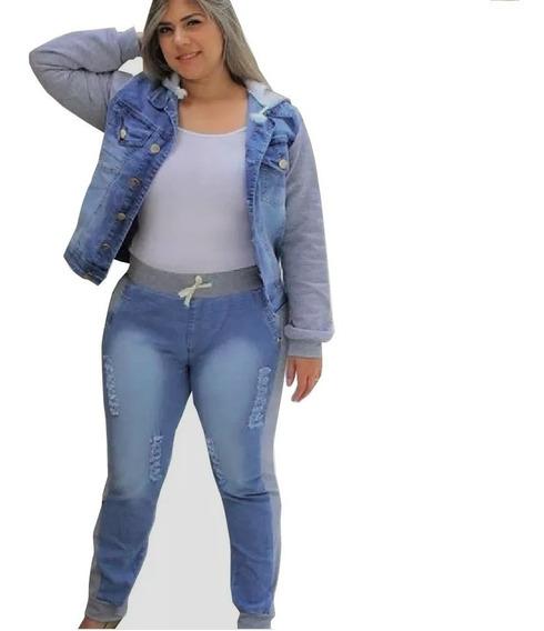 Conjunto Plus Size Calça Jaqueta Jeans Com Moletom Feminina