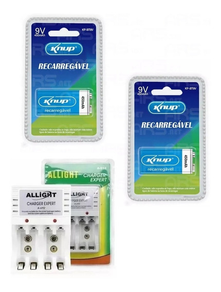 Kit 2 Baterias Knup 9v 450 Mah Original 1 Carregador Allight