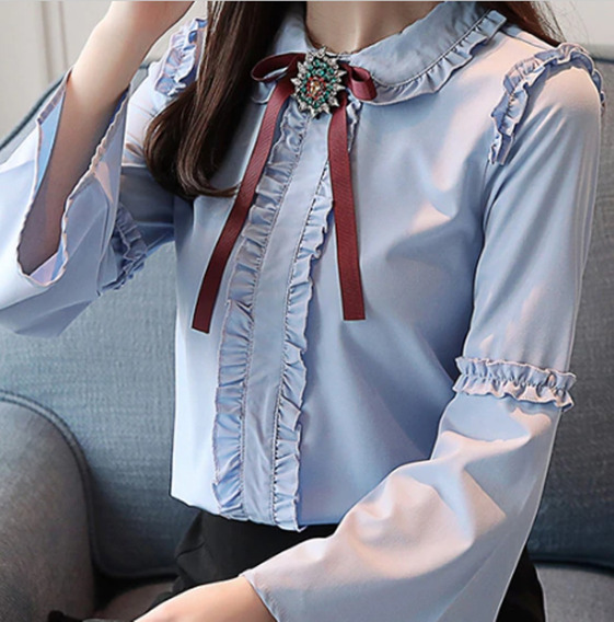 Camisa Feminino Blusa Social Manga Longa Foto Real De Luxo