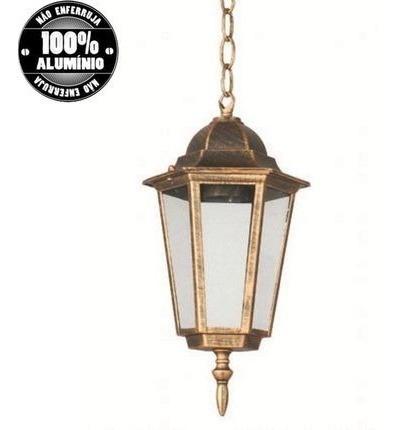 Lustre Pendente Lanterna Lampião Ouro Velho Colonial