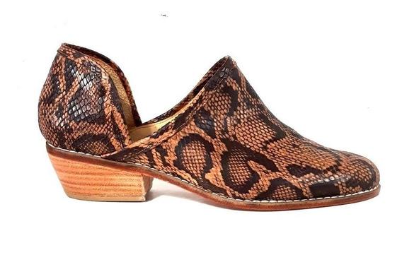 Huma10 Botineta Tipo Zapato Talles Grandes Mujer Reptil