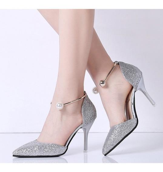Sapato Scarpin Com Tornozeleira Festa Trabalho