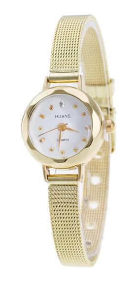 Relógio Feminino Pulseira Dourado Fashion Gold Luxo Promoção