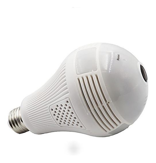 Camera Lp Seguraca Lampada Vr 360 Espiã Wifi Panoramica V380