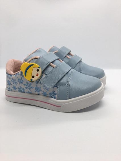 Tenis Infantil Menina, Kidstep, Azul\branco, Tam. 20 Ao 27
