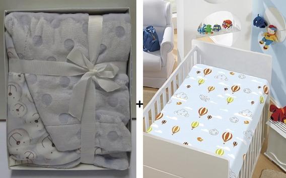 Combo Jolitex Manta Bebe Menino + Edredom Cobertor Em Relevo