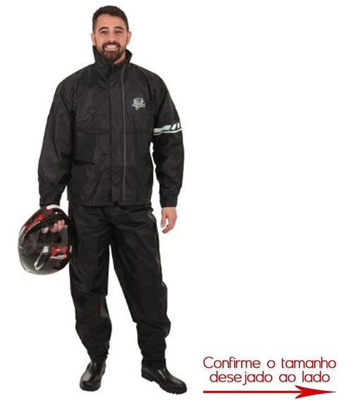Conjunto Chuva Impermeável Motoqueiro Nylon Blusa Calça M