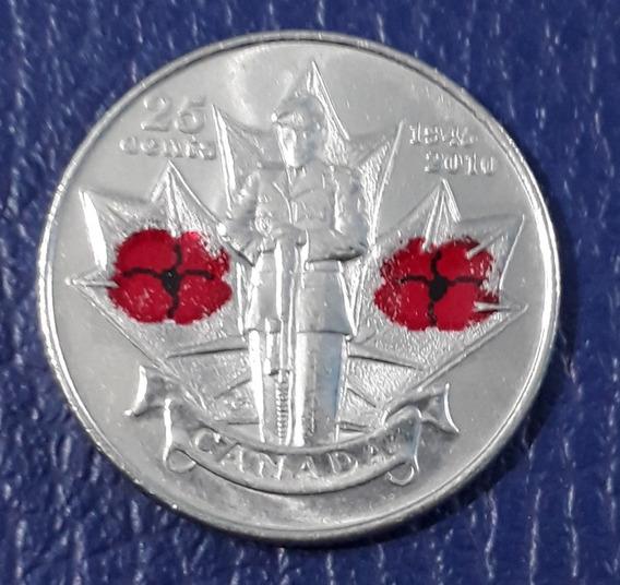 Moneda Conmemorativa 25 Centavos Canada 2010 .