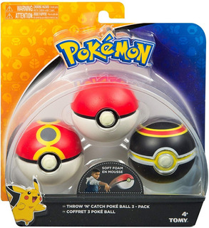 Pokemon Pack 3 Pokebolas Multicolor Tomy Original