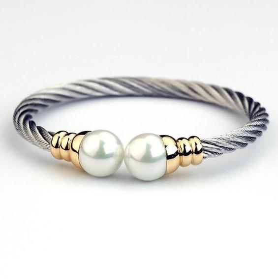 Pulseira Feminina Bracelete Banhada A Ouro + Aço Inoxidável