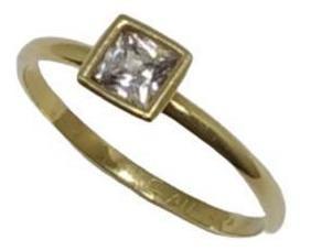 Anel Feminino Ouro 18k 750 Solitário Pedra Quadrada