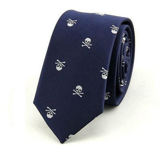 Corbata Slim Skull And Bones. Excelente Calidad.