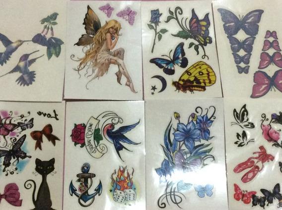 9 Cartelas De Tatuagem Temporária Feminina