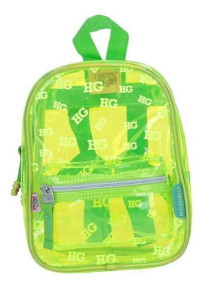 Mochila Chica De Accesorio Casual Verde Transparente Hg Pei