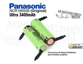 2x Bateria Panasonic Ncr18650b Original 3,7v 3400mah C Pino