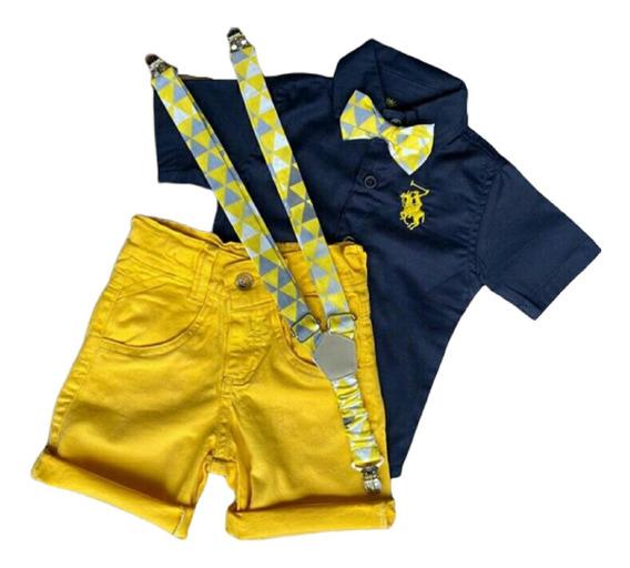 Roupa Masc Infantil Menino Bermuda Camisa Gravata Reveillon